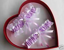 Double Heart Lavender / White Wedding Garters - Prom