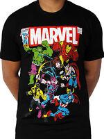 Avengers Team up Official Marvel Comics Poster Ironman Hulk Black Mens T-shirt