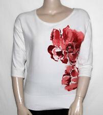 NEW JM Collection MEDIUM Sequin Flower Printed Sweater Dolman Sleeve EGGSHELL