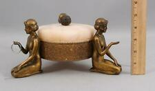 Antique Art Deco Nude Women Alabaster Trinket Powder Dresser Jar & Ring Holder