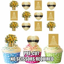 PRECUT Golden 50 Wedding Anniversary 12 Edible Cupcake Toppers Cake Decorations