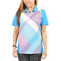 Women's PUMA Golf Duo Polo Shirt Long-Sleeve Blue/White/Pink size XS (T29) $70