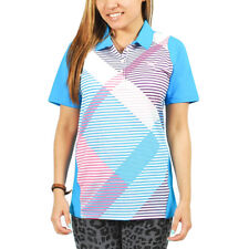 Women's PUMA Golf Duo Polo Shirt Long-Sleeve Blue/White/Pink size XS (T29) $70
