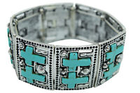 Southwestern Double Cross Turquoise Metal Stretch Bracelet