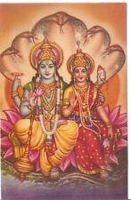 Vishnu and Laxmi Worship God Litho Print Picture Postcard Lord of Power & Wealth