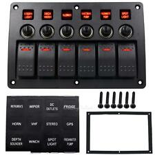 6 Gang LED Rocker Switch Panel Circuit Breaker Waterproof 24/12V Car Boat Marine