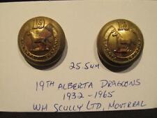 19th Alberta Dragoons Canada WWII Era Pair of 25.5mm Uniform Buttons