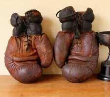 More details for large vintage leather straw filled boxing gloves. c1930. mancave gym bar