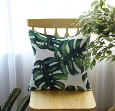 Cotton Blend Square Pillowcase Green Leaf Tropical Cushion Cover Home Sofa Decor