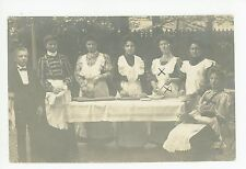 Girls Preparing Dinner RPPC Braunschweig—Antique Food Photo AK Meyer Foto 1904