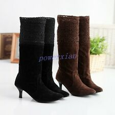 Womens Slouch Lace Ladies Mid Calf Boots Kitten Heel Pull On Faux Suede Boots
