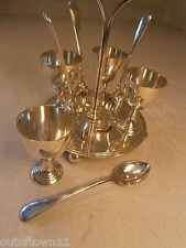 Silver Plate Egg Cup  Spoon Cruet Set & Stand   ref 542