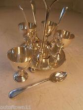 Silver Plate Egg Cup  Spoon Cruet Set & Stand   ref 542