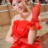 Womens Red Bow Gloves Full Finger Formal Wedding Bridal Gloves Driving Gloves