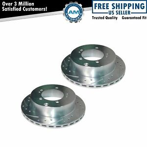 Performance Brake Rotor Drilled Slotted Coated Rear Pair for Mitsubishi