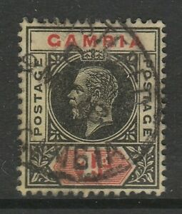 Gambia 1912-22 4d Black & red/ lemon SG 92a Fine used.