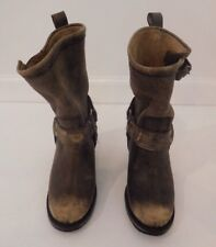 MATISSE Helms Western Leather Harness Taupe Ankle Boot Sz 4.5/5/5.5 -Pre-Owned