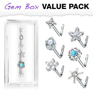 6pc Box Value Pack Opal / Turquoise / CZ Gem Shapes 20g Steel L-Bend Nose Rings