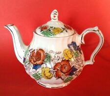 Sadler Rose Garden Teapot With Intact Sticker - Red Blue Yellow With Gilding