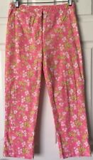 Lilly Pulitzer Crop Pants Happy Hippo Floral Print Pink Green White Sz 0, XS EUC