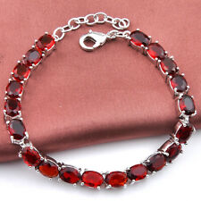 Special Design Oval Cut Style Fire Red Garnet Gems Silver Charming Bracelets