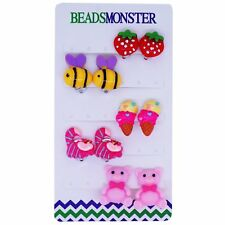 Clip on Earrings for Little Teen Girls Kids Daughter Mix Style Color Gift Set