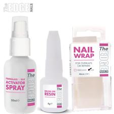 The Edge Nails Profesional Kit de prueba de envoltura de seda/Activador Spray Resina & Wrap
