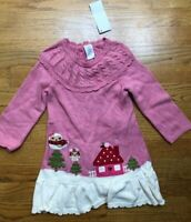 NWT Gymboree Cozy Owl  Sweater Dress Pink White Girls  Size 2   3 6 months