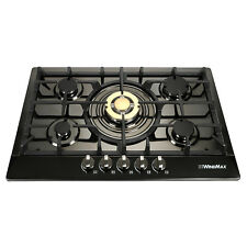 "WINDMAX 30"" Black Stainless Steel Golden Burner 5 Stoves NG Gas Cooktops Cooker"