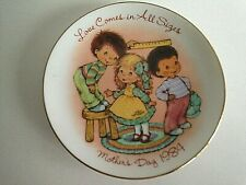 """Mother's Day 1984 Plate Avon 5.5"""" Round """"Love Comes in All Sizes"""" Children Kids"""