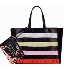 Victoria's Secret Sequin Tote Bag Black With Matching Bag New.