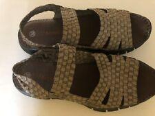 d82f34158a5a BERNIE MEV Women s 7.5 EU 38 GOLD and Black Sandals Woven Wedge Heel Open  Toe