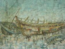 Tableau Huile sur Toile - Barques de pêche - signé BALDOUREAUX - XXème -