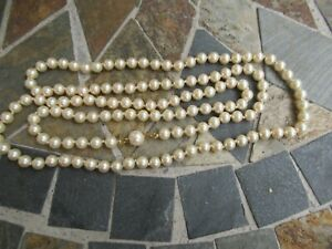 """Vintage 36"""" Single Strand Pearl Necklace w 14K Yellow Gold Clasp"""