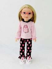 "Princess Kitty Pajama Pant Set Fits Wellie Wisher 14.5"" American Girl Clothes"