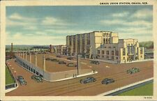 OLD VINTAGE OMAHA UNION STATION IN OMAHA NEBRASKA LINEN POSTCARD