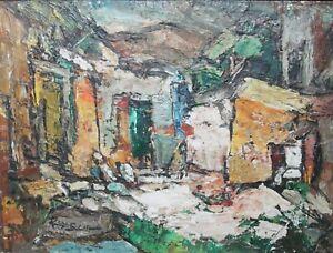 Rudolph J Schmidt Original Oil Painting 1963 San Miguel (#2) Mid-Century