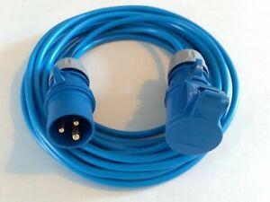 16A 240V MAINS ELECTRIC CABLE BLUE CARAVAN HOOK UP EXTENSION LEAD 1M 25M