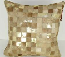 New Design Accents  Leather/Velvet Pillow Beige Gold Inch Sqaure - 20 x 20 in.