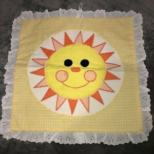 """Vintage Quilted Wall Hanging 16"""" Sq Smiling Sun Yellow Gingham Lace Ruffle Baby"""