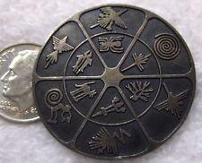 Ancient Aliens Nazca Lines Symbols Calendar Sterling Silver Brooch, Pin, # A74