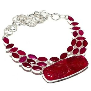 """Carved Red Onyx, Ruby Handmade 925 Silver Jewelry Necklace 18"""" PK461"""