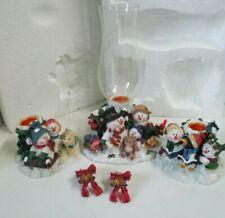 New ListingSnowman Candle Holder Centerpiece 5 Piece Pc Set #200972 Christmas Decor-S1
