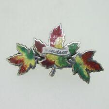 Leaf Windsor Pin Brooch Sterling Silver Enamel Maple