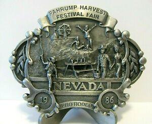 1986 Pahrump Harvest Festival Fair Pro Rodeo Nevada Belt Buckle Lt Ed 5th Series