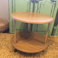 VINTAGE MCM RETRO TEAK EFFECT ROUND 2 TIER DRINKS SERVING TROLLEY FORMWOOD