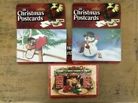 Vintage Conimar Christmas Postcards Mailbox Snowman Fireplace Kids Lot Of 3