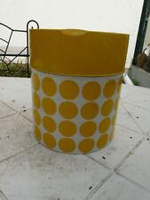 ancienne grande boite métal blanche à pois jaune vintage