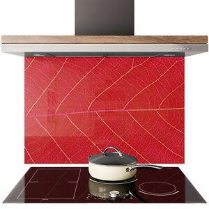 Glass Splashback Kitchen Tile Cooker Panel ANY SIZE Red Leaf Texture Macro 0772