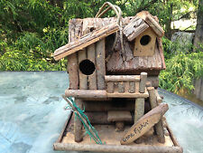 GORGEOUS HOMEMADE LOG CABIN STYLE BIRDHOUSE BUILT BY ME